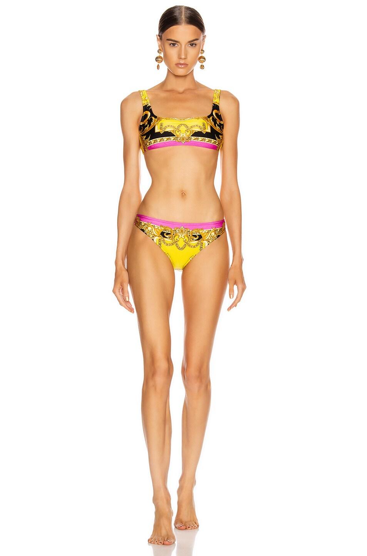 Image 4 of VERSACE Baroque Bikini Top in Fuchsia & Yellow