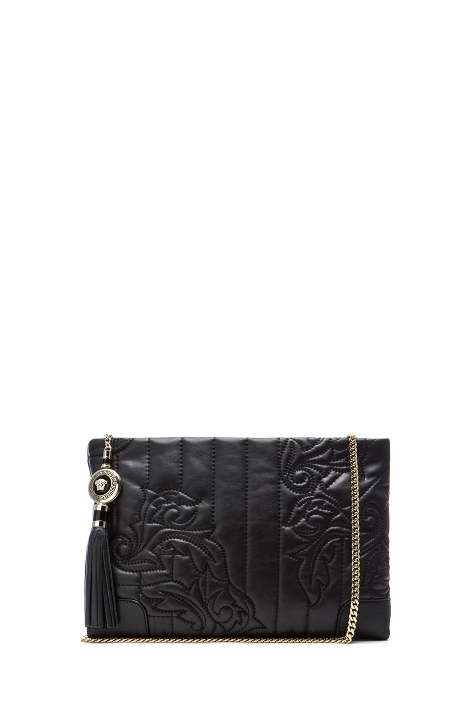 Image 1 of VERSACE Embroidered Clutch in Black