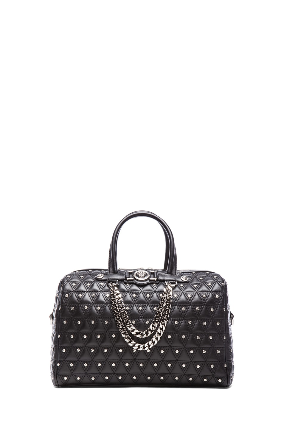 Image 1 of VERSACE Leather Studded Tote with Strap in Black