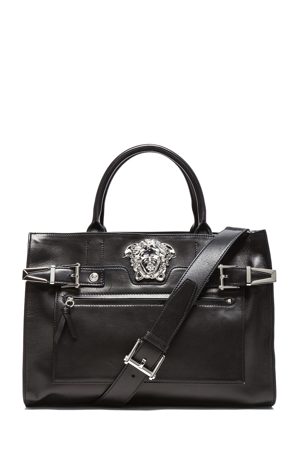 Image 1 of VERSACE Tote in Black & Silver