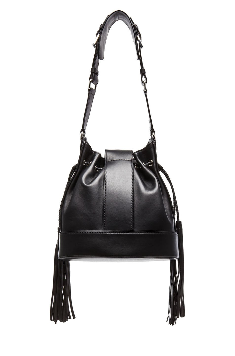 bc8ef352cb7d Image 2 of VERSACE Fringe Leather Bucket Bag with Medusa Head in Black    Silver
