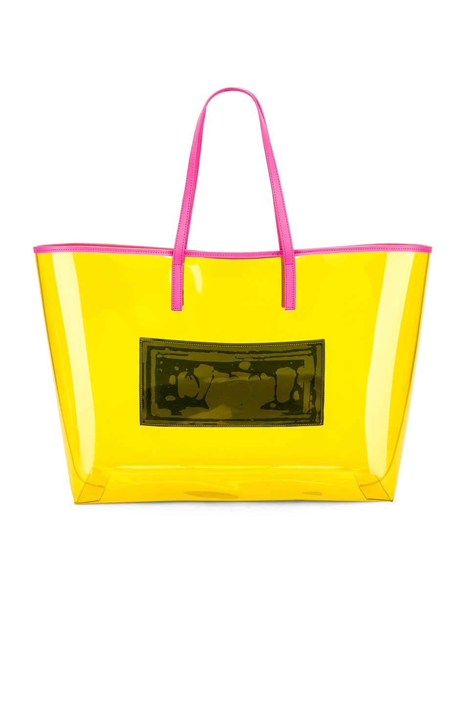 Image 3 of VERSACE Clear Vinyl Logo Tote in Yellow