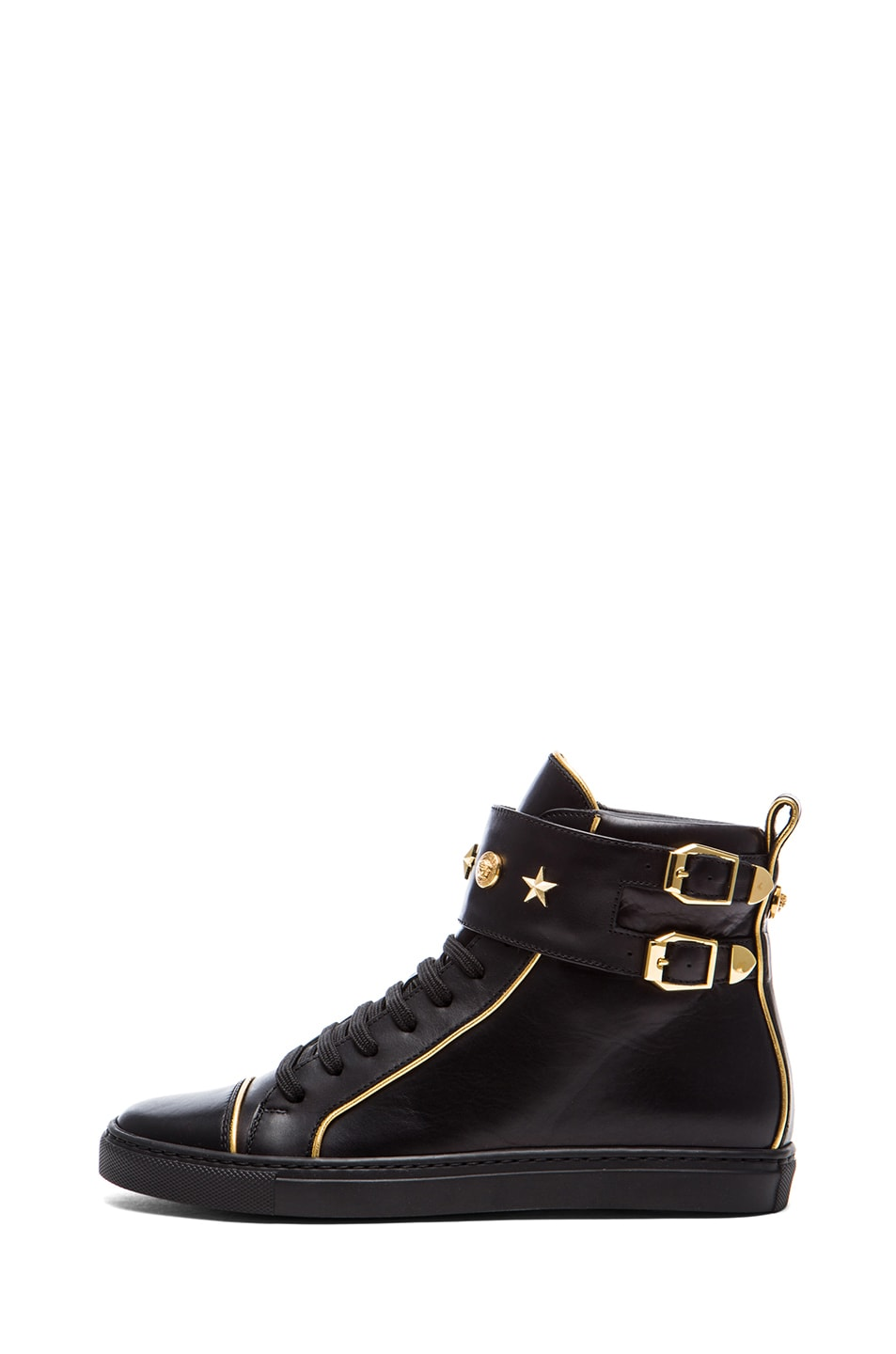 Image 1 of VERSACE Leather Gold Trim Sneakers in Black