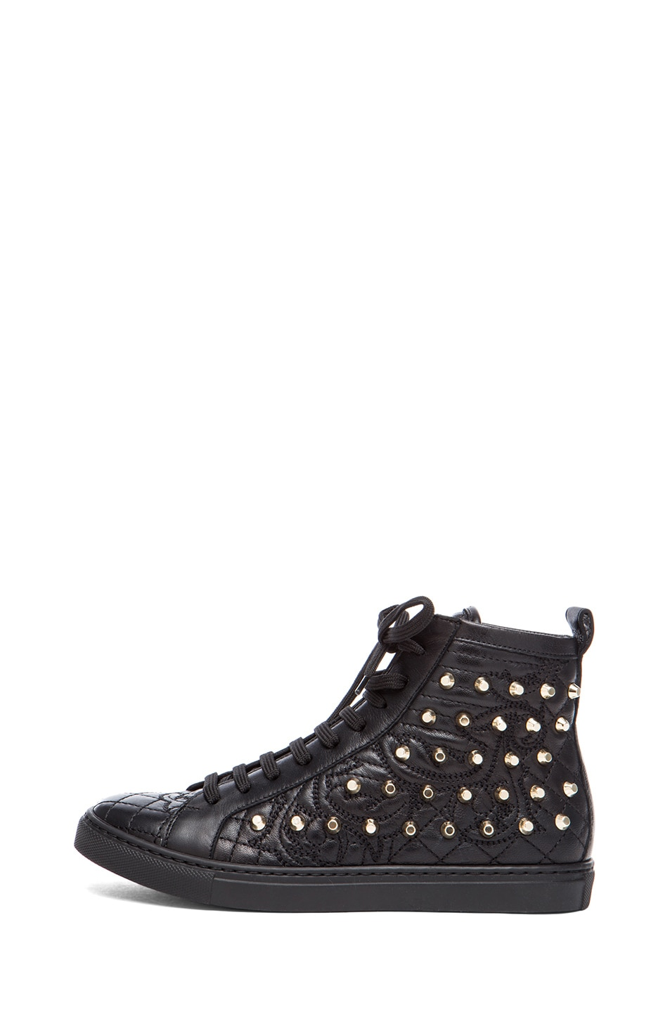 Image 1 of VERSACE Nappa Leather Studded Sneaker in Black & Gold