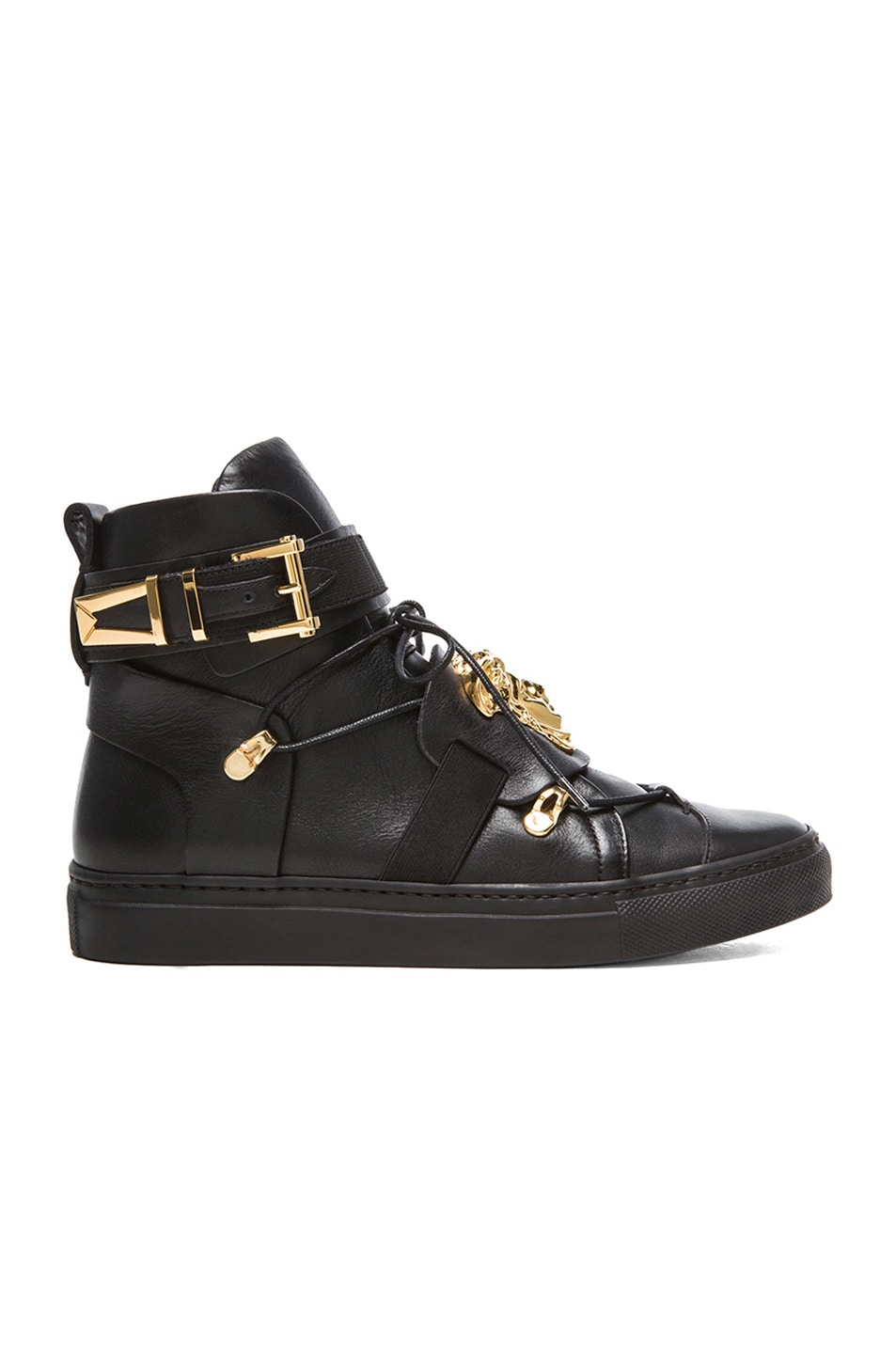 Image 1 of VERSACE High Top Medusa Head Sneakers in Black & Gold