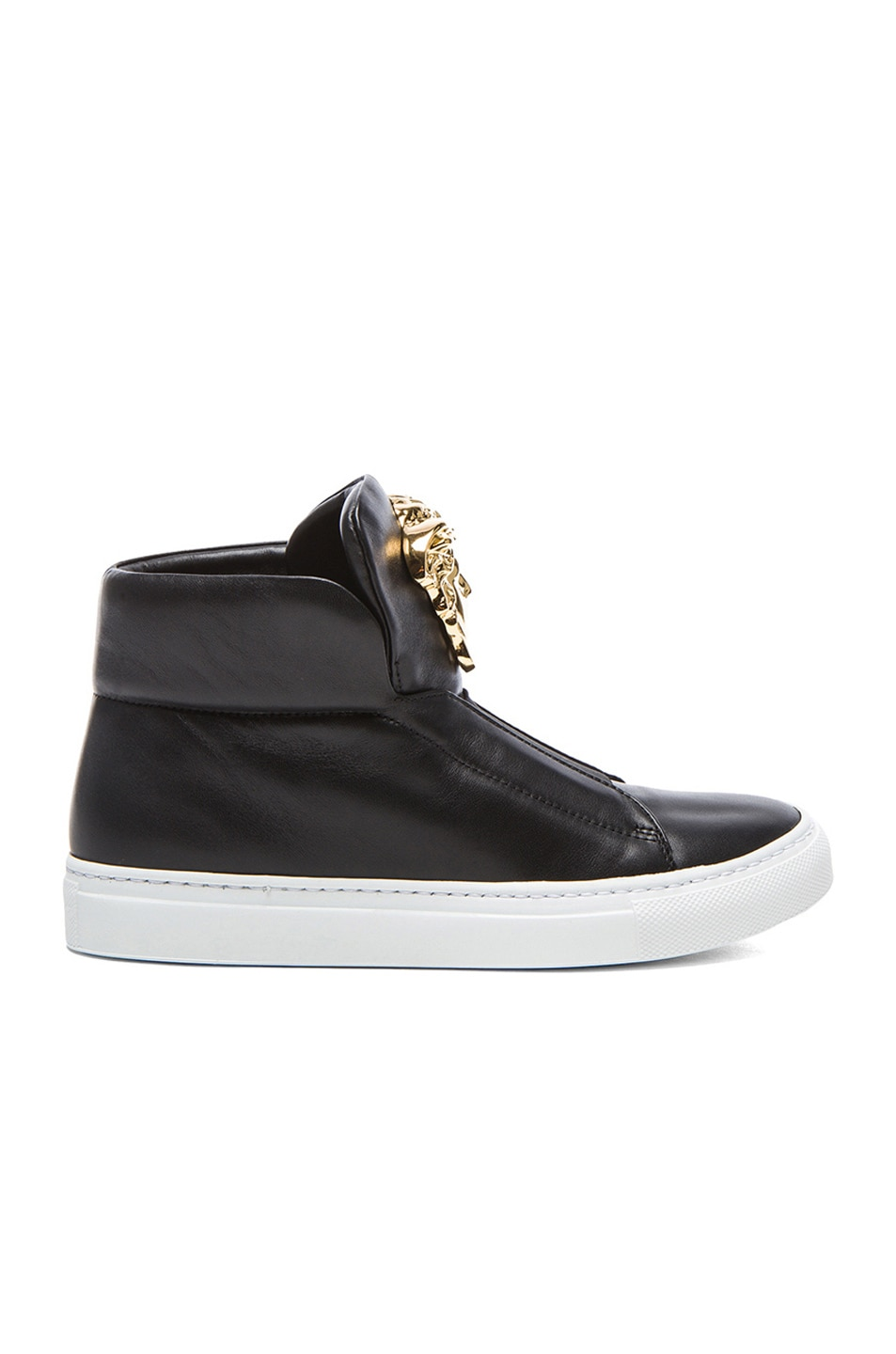 Image 1 of VERSACE Medusa Head Laceless Leather Sneakers in Black & Gold