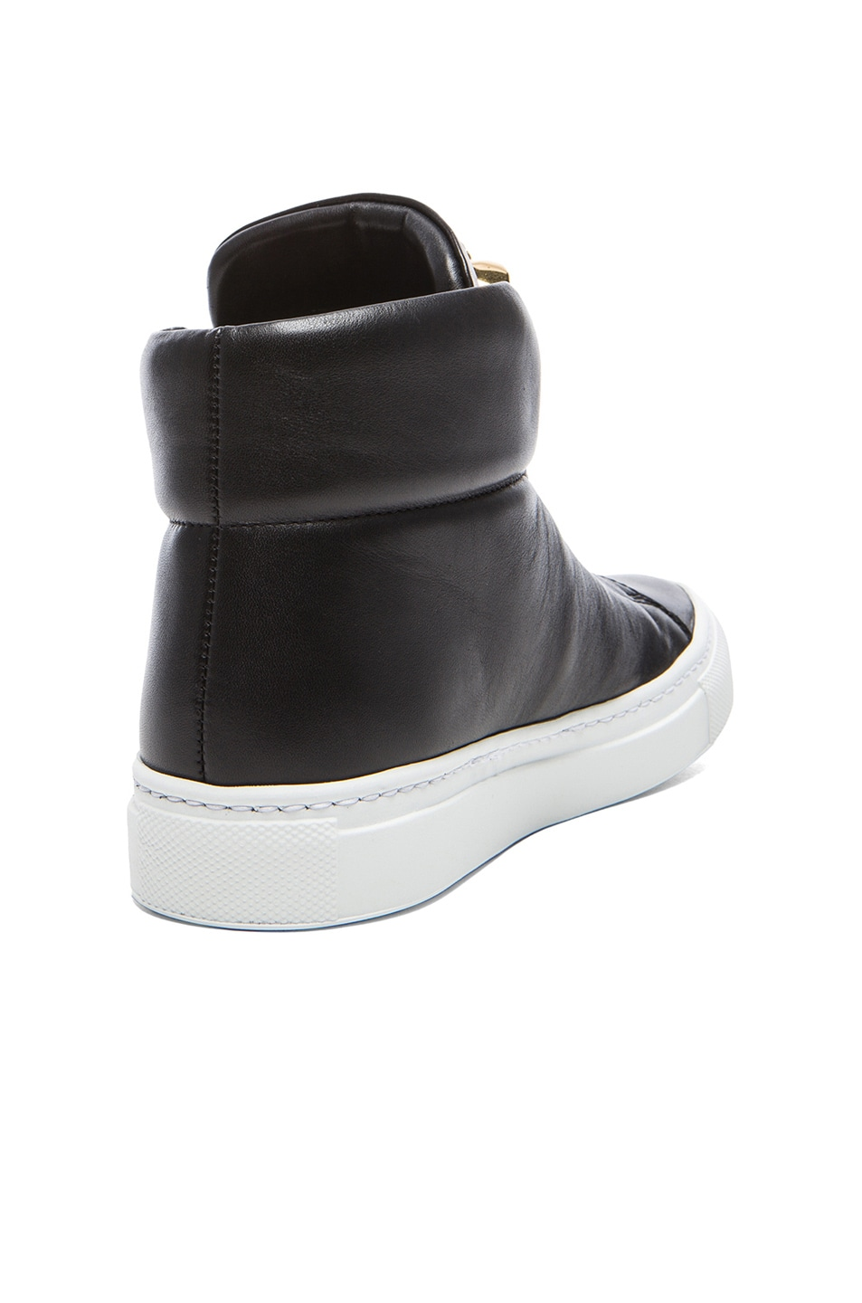 Image 3 of VERSACE Medusa Head Laceless Leather Sneakers in Black & Gold