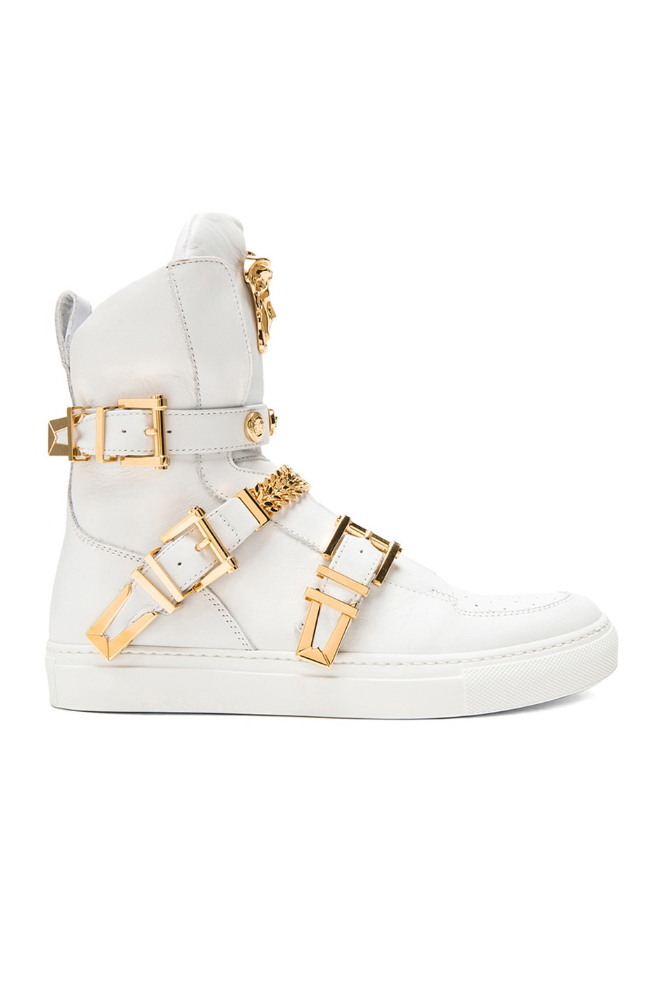 Image 1 of VERSACE Tri Buckle Medusa Head Leather Sneakers in White & Gold