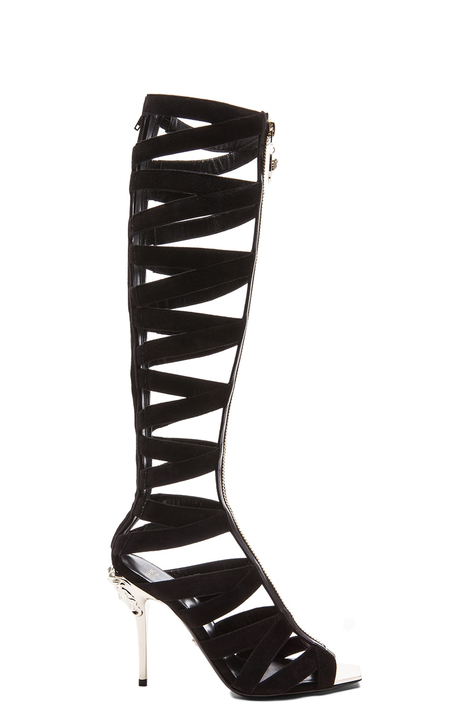 75d1a781985 Image 1 of VERSACE Suede Gladiator Heels in Black