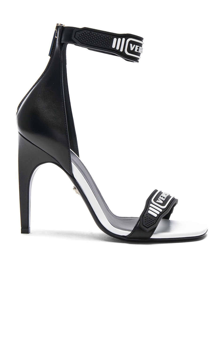 Image 1 of VERSACE Logo Ankle Strap Leather Sandals in Black & White