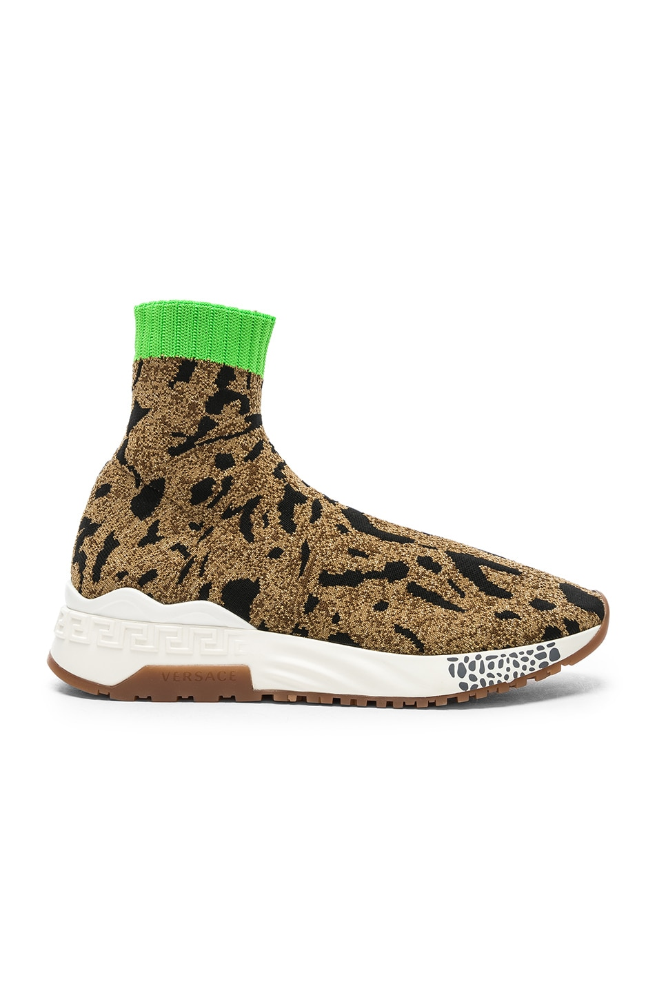VERSACE VERSACE LEOPARD PRINTED SOCK SNEAKERS IN METALLIC,BROWN,ANIMAL PRINT