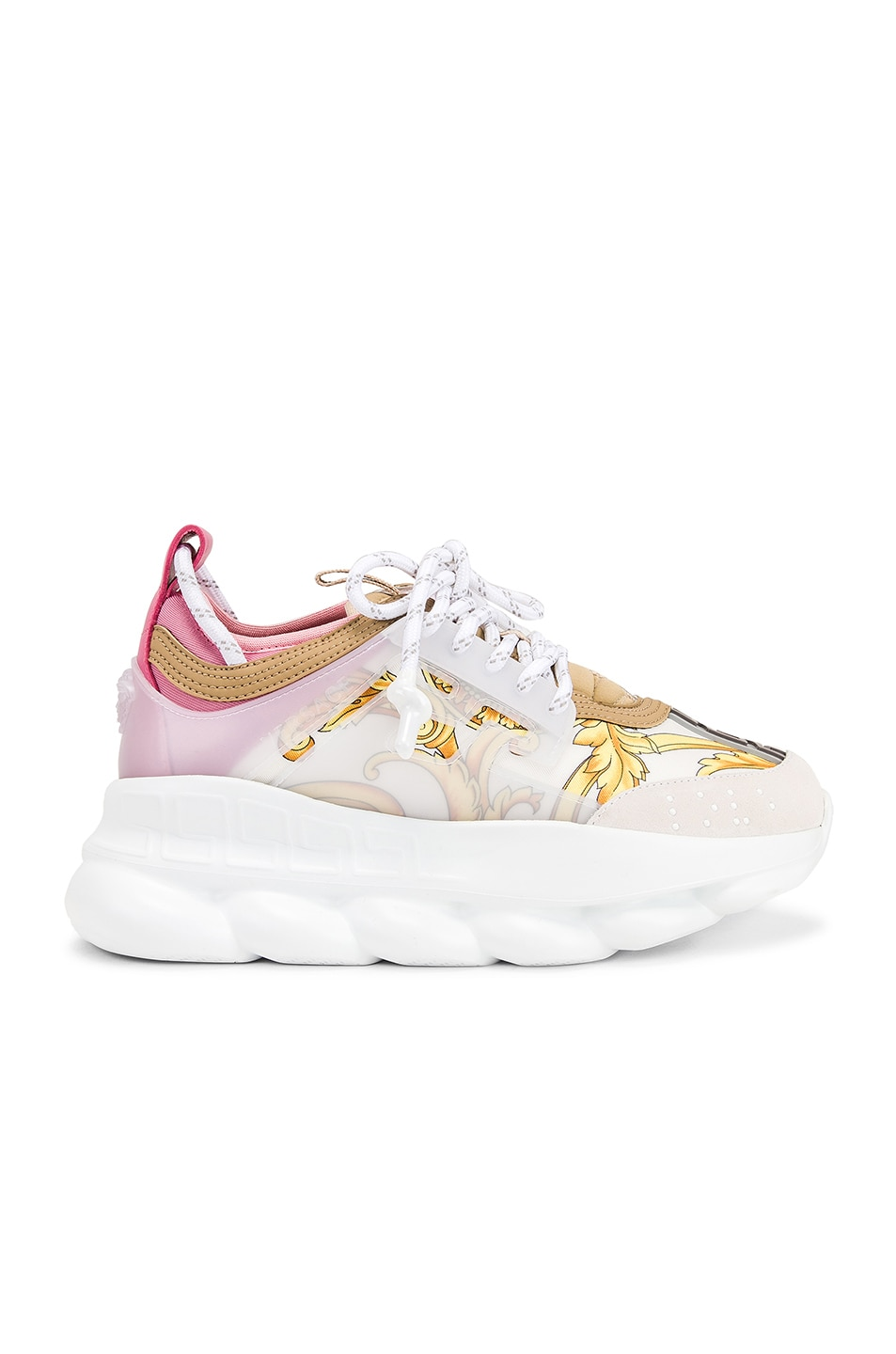 Image 1 of VERSACE Chain Reaction Sneakers in Hibiscus White Multi