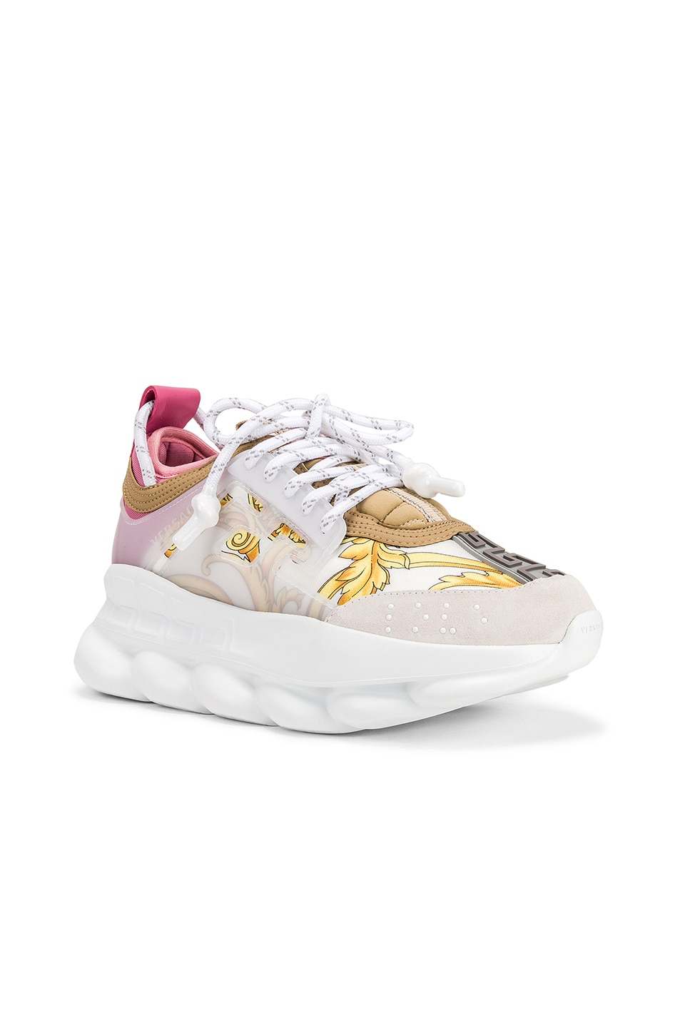 Image 2 of VERSACE Chain Reaction Sneakers in Hibiscus White Multi