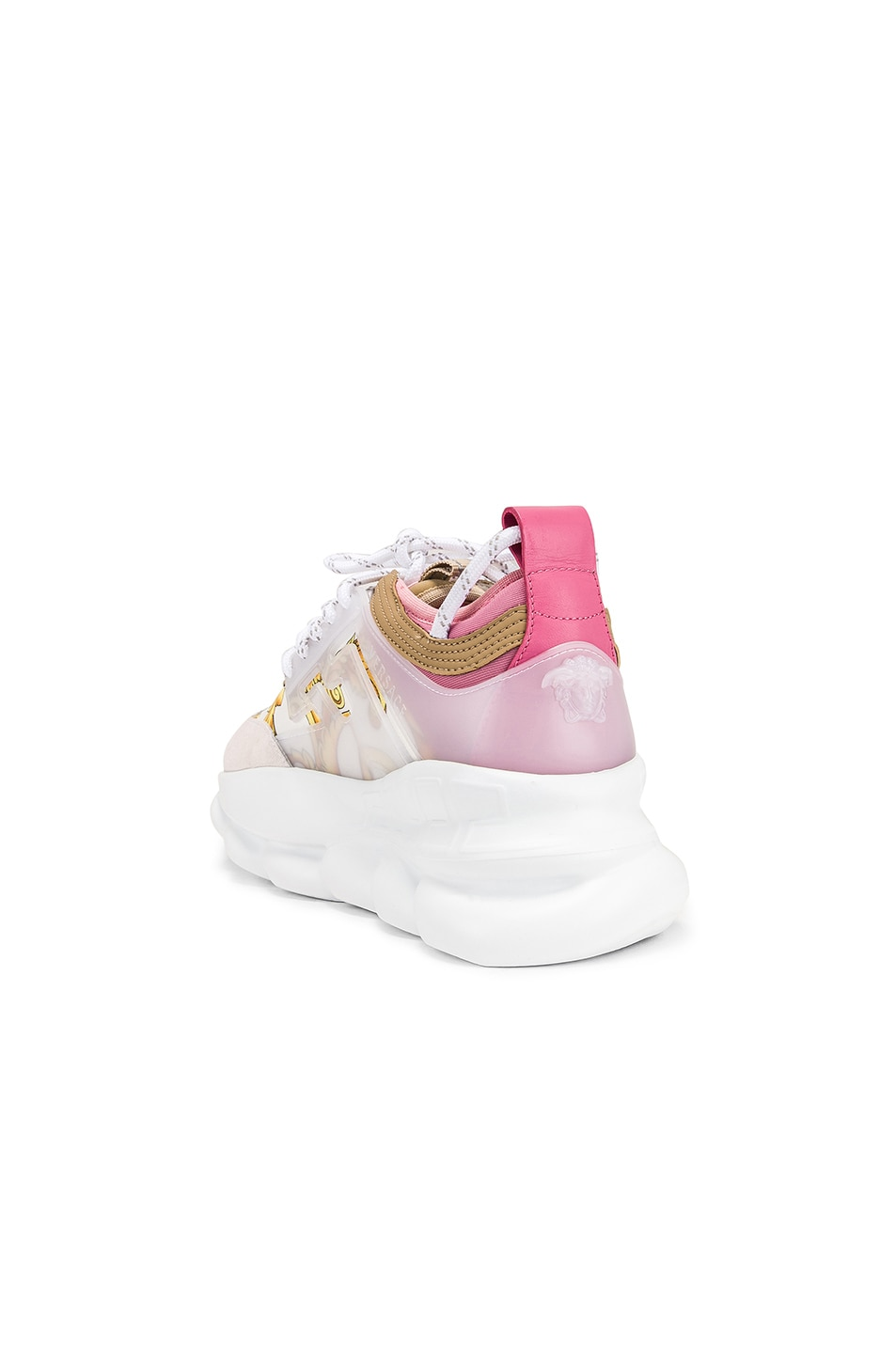 Image 3 of VERSACE Chain Reaction Sneakers in Hibiscus White Multi
