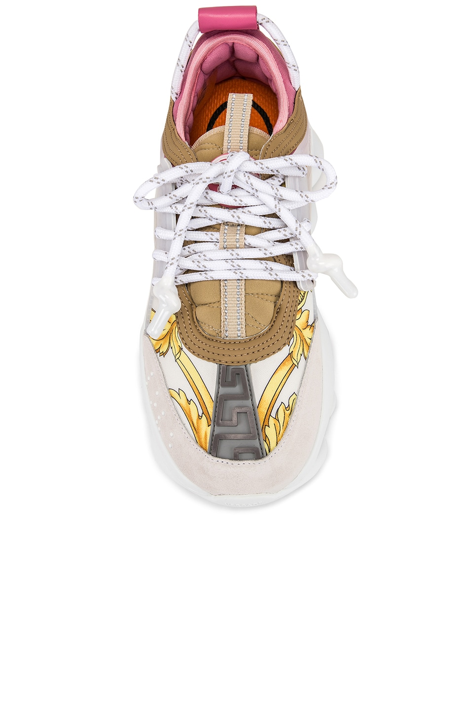 Image 4 of VERSACE Chain Reaction Sneakers in Hibiscus White Multi