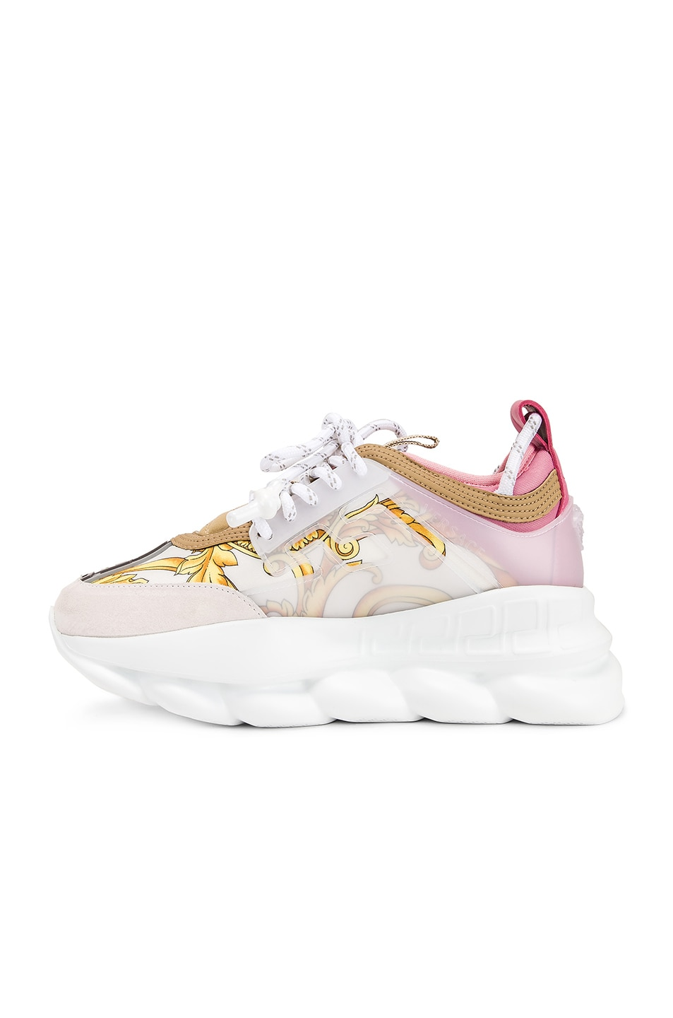 Image 5 of VERSACE Chain Reaction Sneakers in Hibiscus White Multi