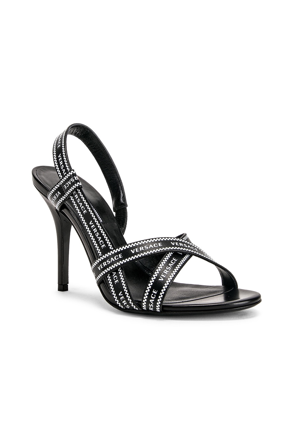 Image 2 of VERSACE Logo Strap Heels in Black & White