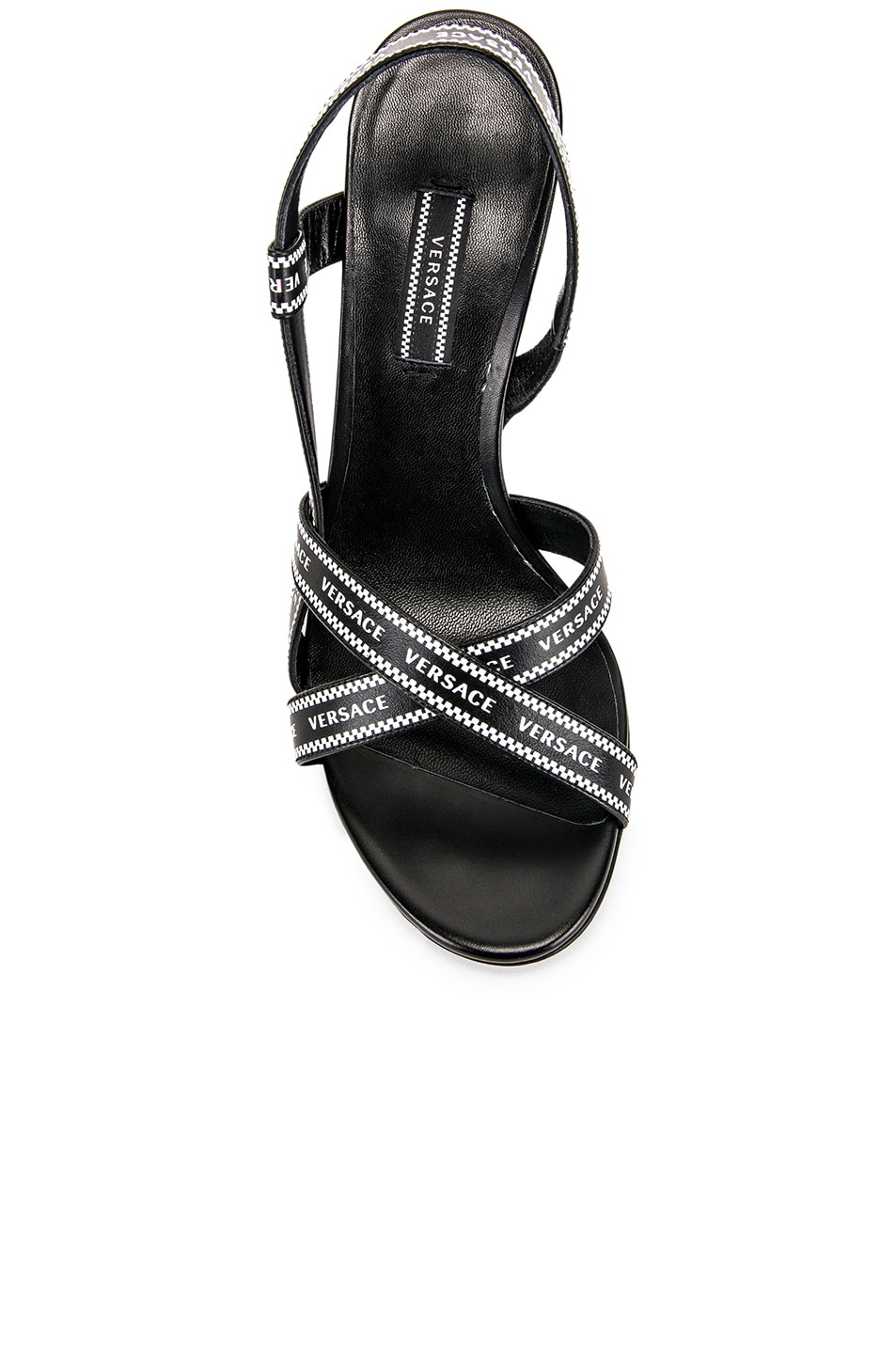 Image 4 of VERSACE Logo Strap Heels in Black & White