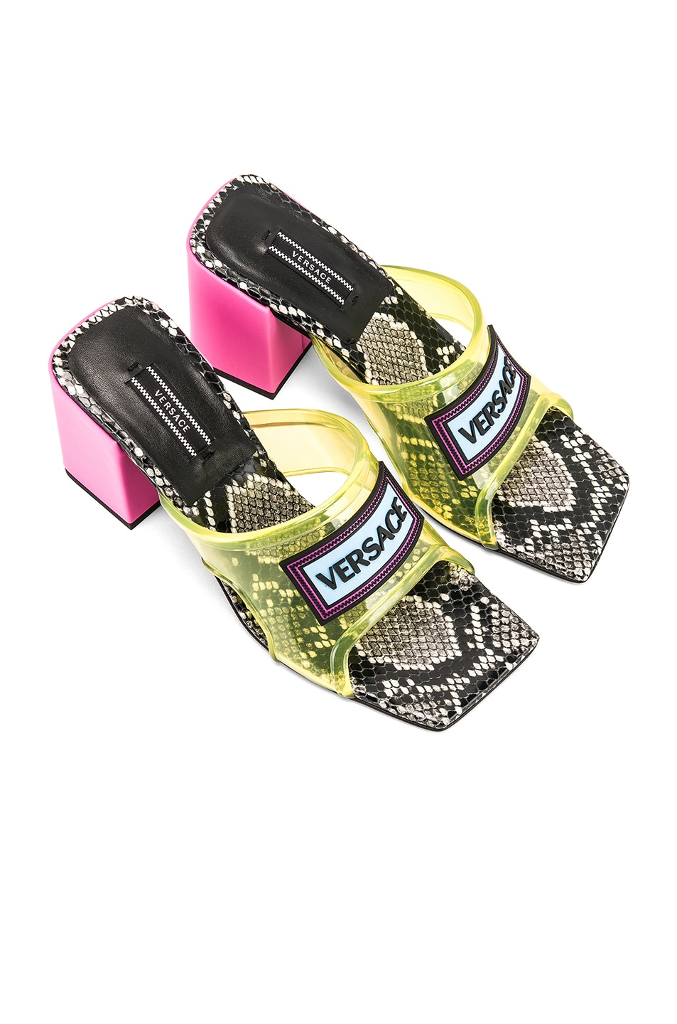 Image 1 of VERSACE Logo Transparent Mule in Yellow & Pink