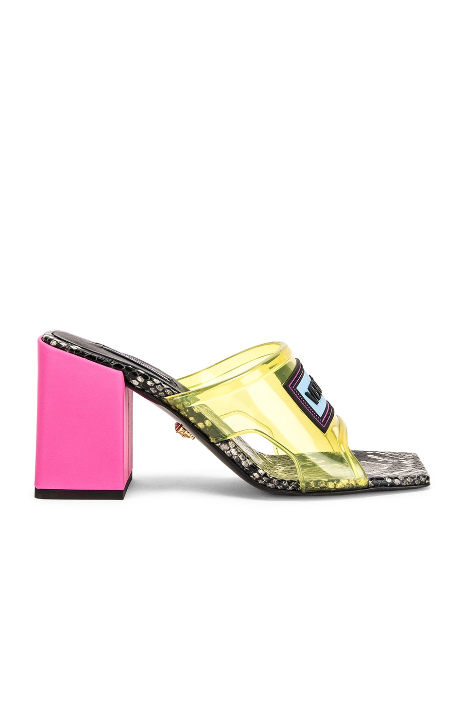 Image 2 of VERSACE Logo Transparent Mule in Yellow & Pink