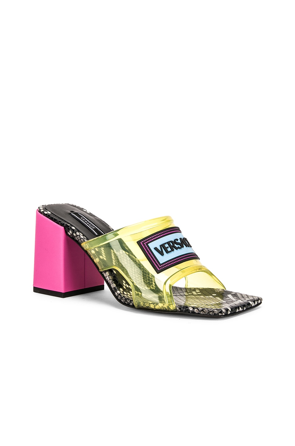 Image 3 of VERSACE Logo Transparent Mule in Yellow & Pink