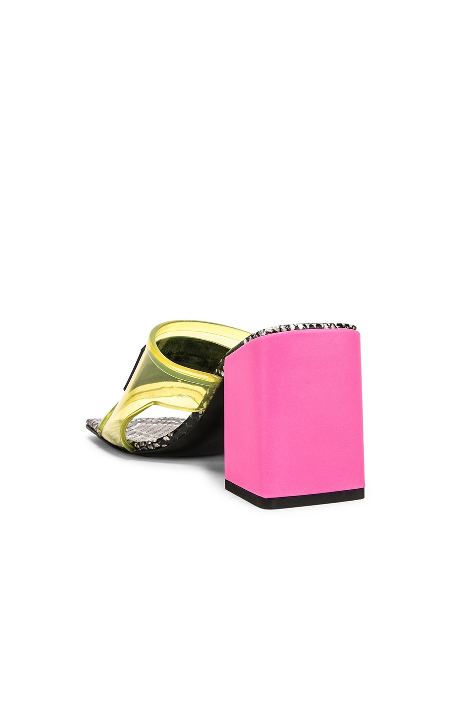 Image 4 of VERSACE Logo Transparent Mule in Yellow & Pink