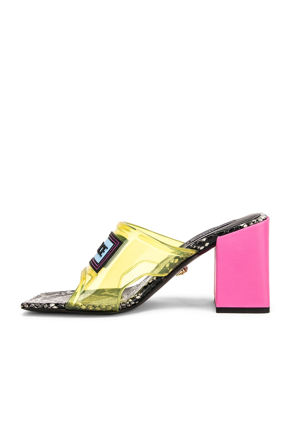 Image 5 of VERSACE Logo Transparent Mule in Yellow & Pink