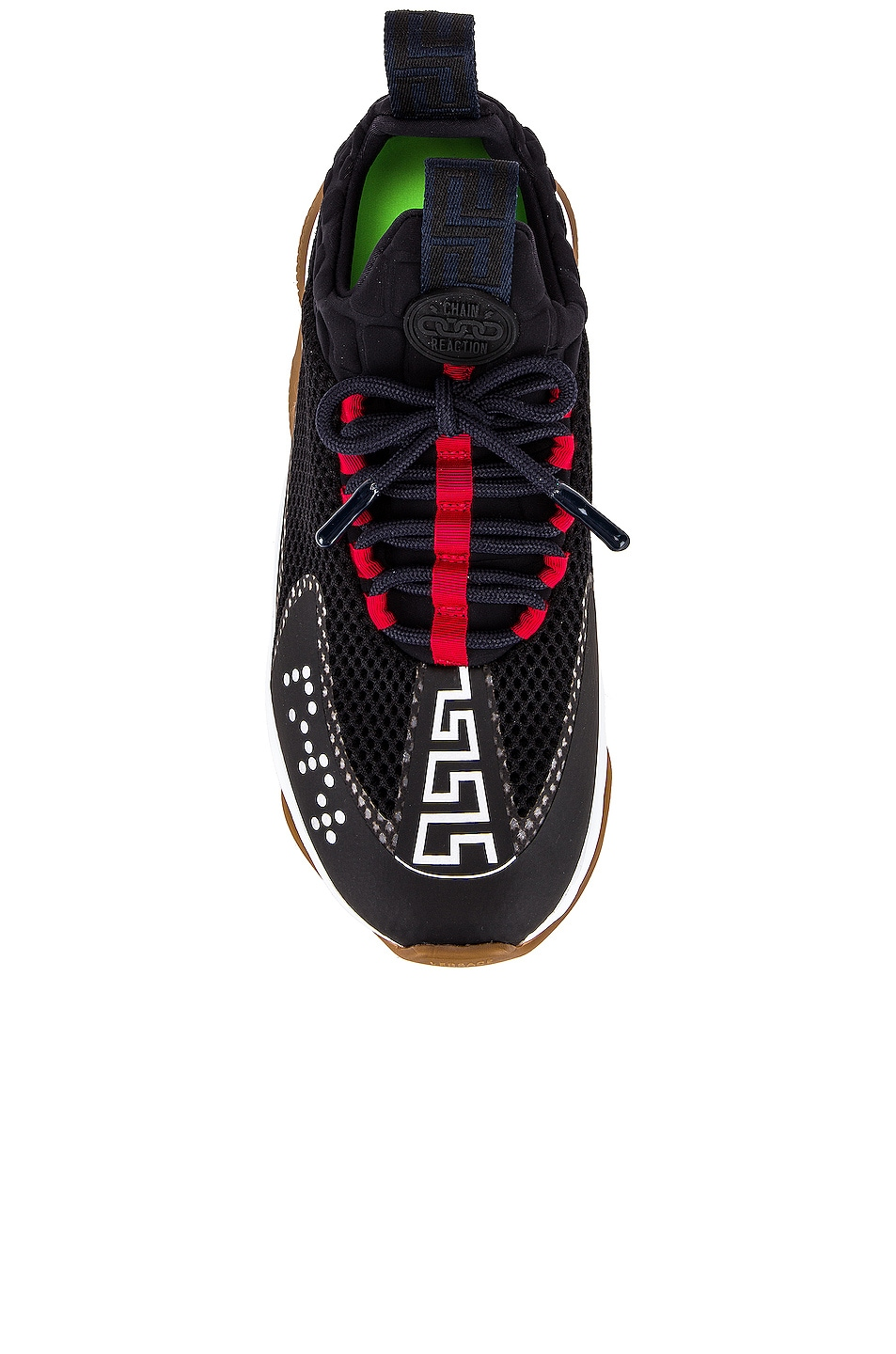 Image 4 of VERSACE Chain Prene Sneakers in Nero & True Navy & Geranium