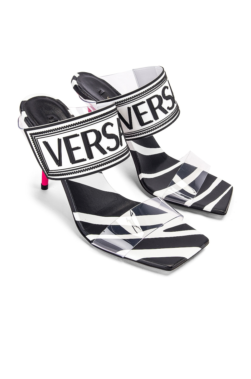 Image 1 of VERSACE Logo Clear Heel Sandals in Black & Fuchsia