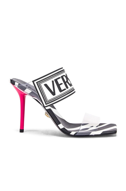 Image 2 of VERSACE Logo Clear Heel Sandals in Black & Fuchsia