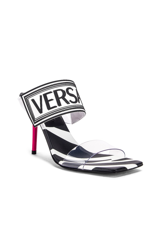 Image 3 of VERSACE Logo Clear Heel Sandals in Black & Fuchsia