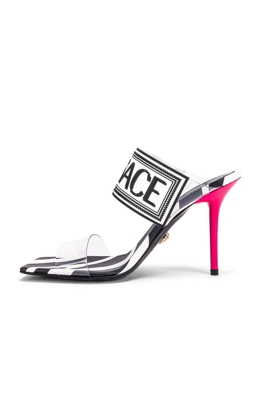 Image 5 of VERSACE Logo Clear Heel Sandals in Black & Fuchsia