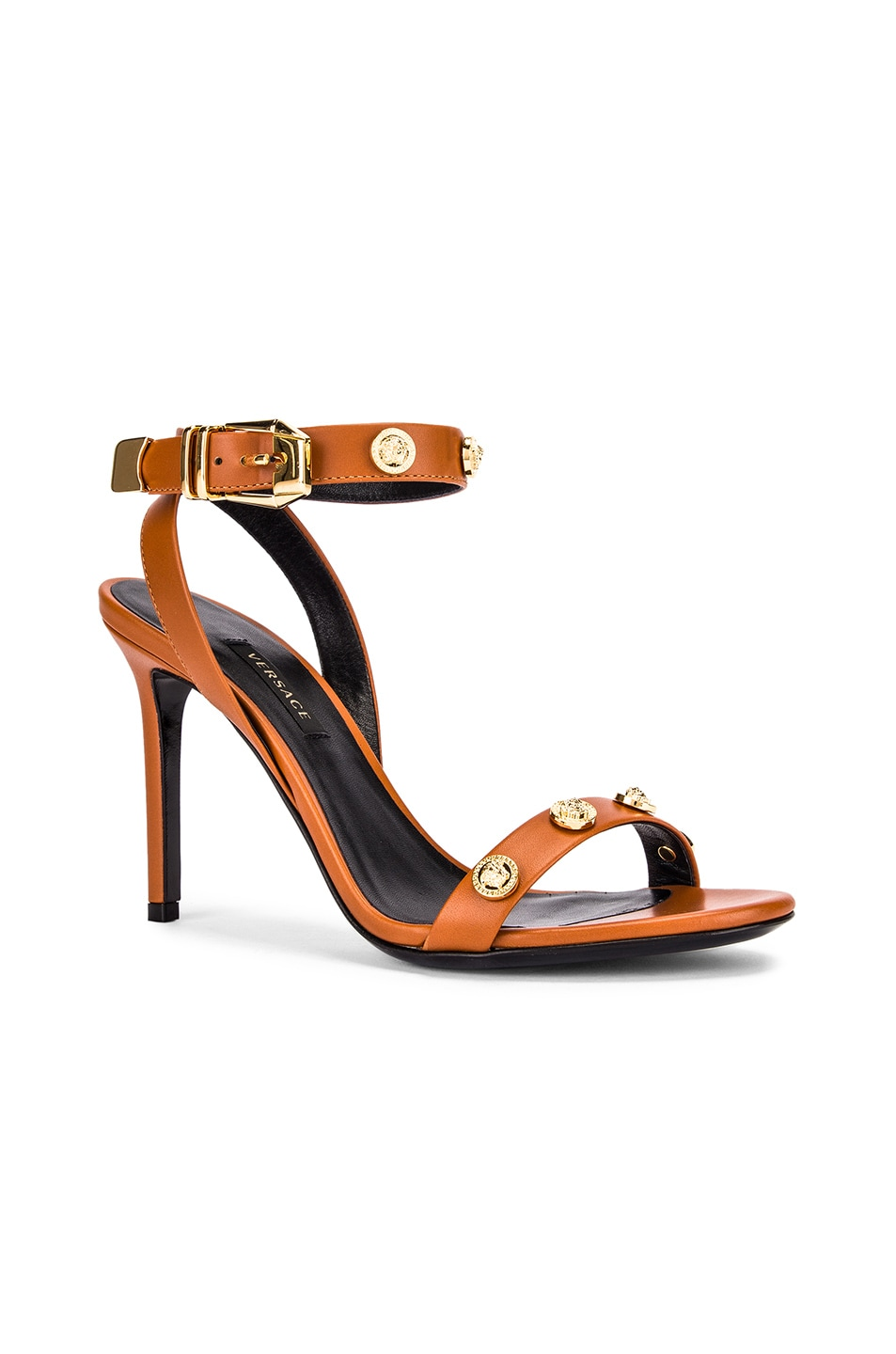 Image 2 of VERSACE Ankle Strap Heels in Orange