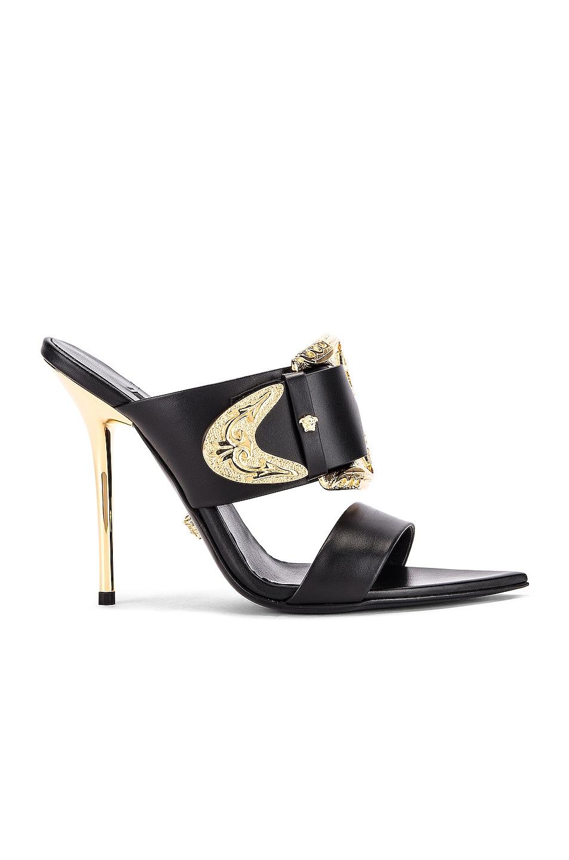 Image 1 of VERSACE Buckle Heels in Black & Gold