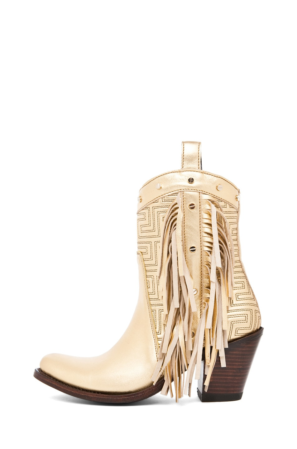 Image 1 of VERSACE Fringe Cowboy Boot in Gold