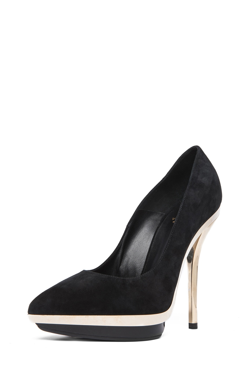 Image 1 of VERSACE Suede Mirrored Pump in Black & Gold