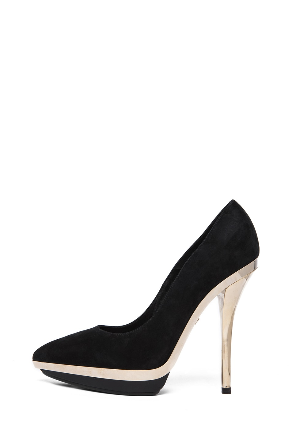 Image 2 of VERSACE Suede Mirrored Pump in Black & Gold