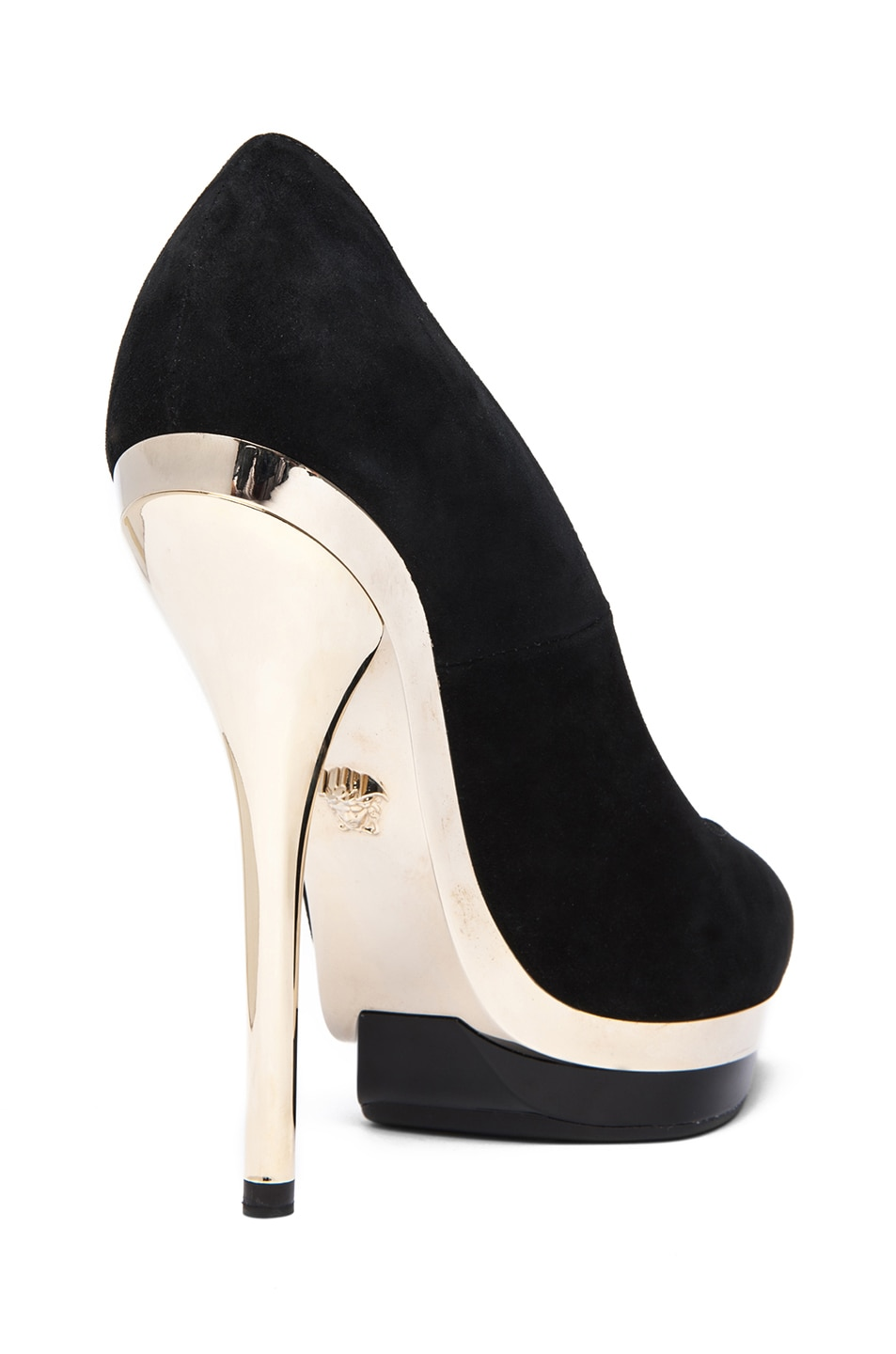 Image 3 of VERSACE Suede Mirrored Pump in Black & Gold