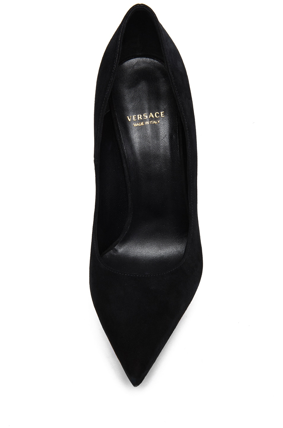 Image 4 of VERSACE Suede Mirrored Pump in Black & Gold