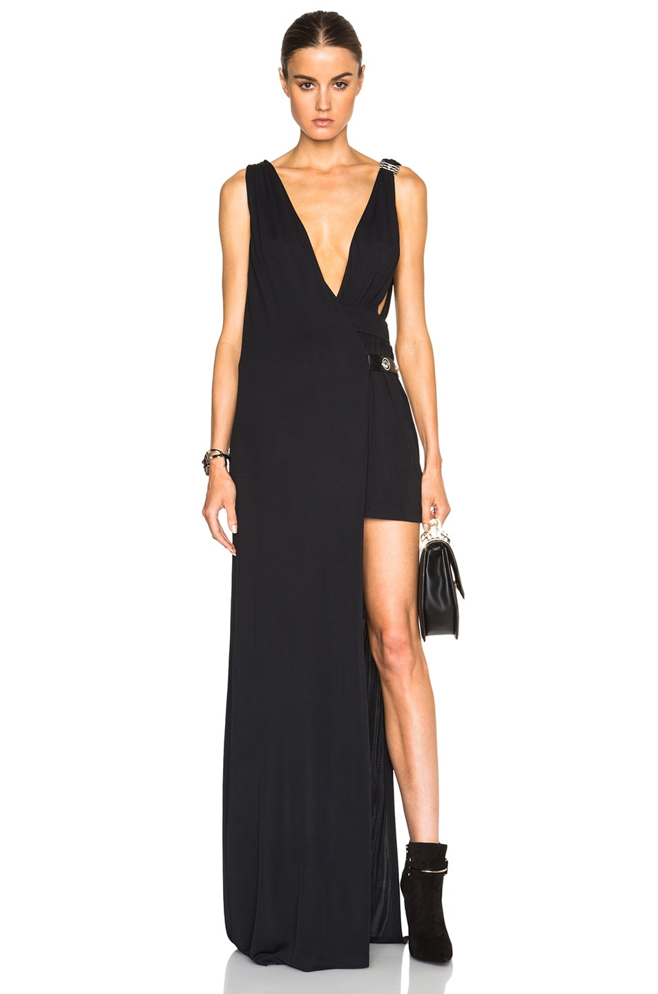 Image 1 of Versus Long Dress with Cut Out in Black