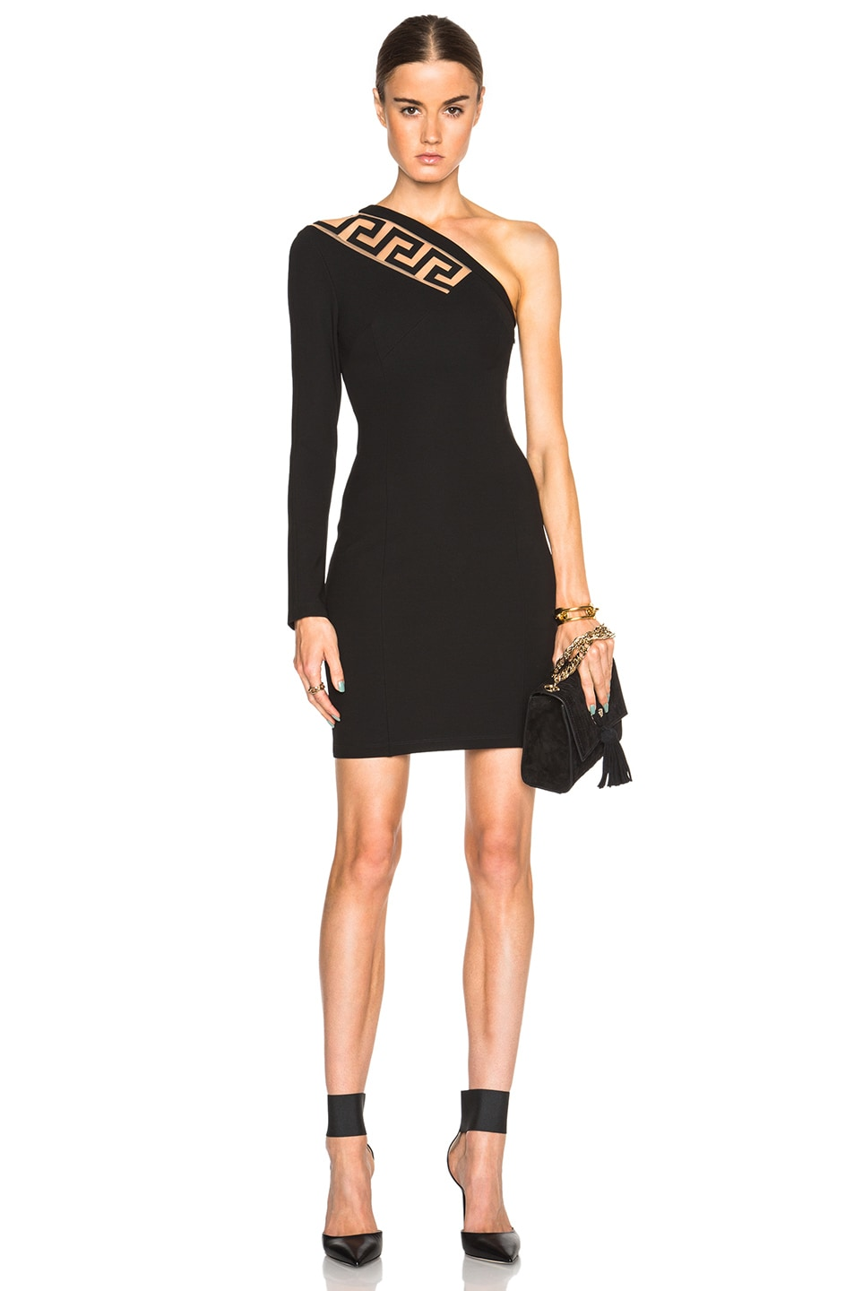 Image 1 of Versus One Shoulder Jersey Dress with Cutout in Black