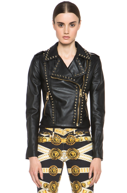 Image 2 of Versus Leather Jacket & Gold in Black