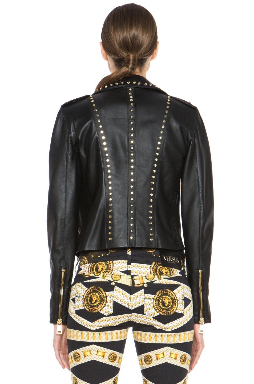 Image 5 of Versus Leather Jacket & Gold in Black