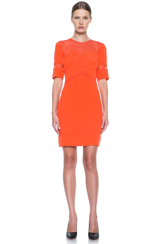Image 1 of Victoria Victoria Beckham Tulle Insert Silk Dress in Tangerine