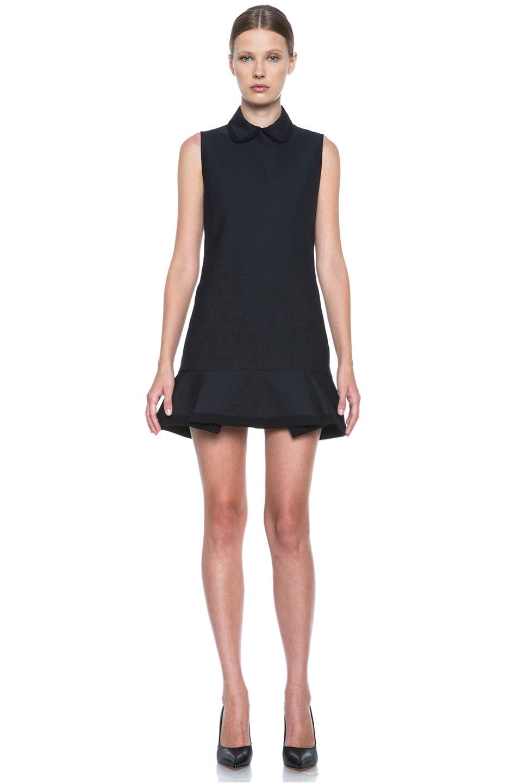 Image 1 of Victoria Victoria Beckham Scrunch Hem Poly-Blend Dress in Navy & Black