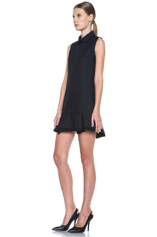 Image 2 of Victoria Victoria Beckham Scrunch Hem Poly-Blend Dress in Navy & Black