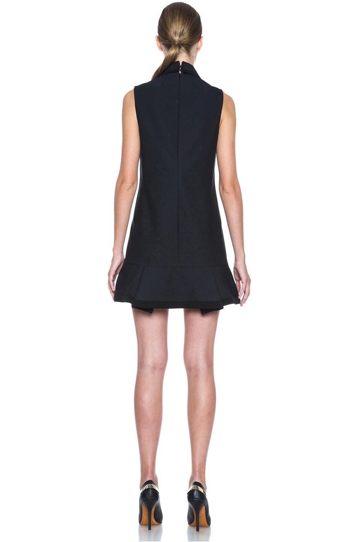Image 4 of Victoria Victoria Beckham Scrunch Hem Poly-Blend Dress in Navy & Black