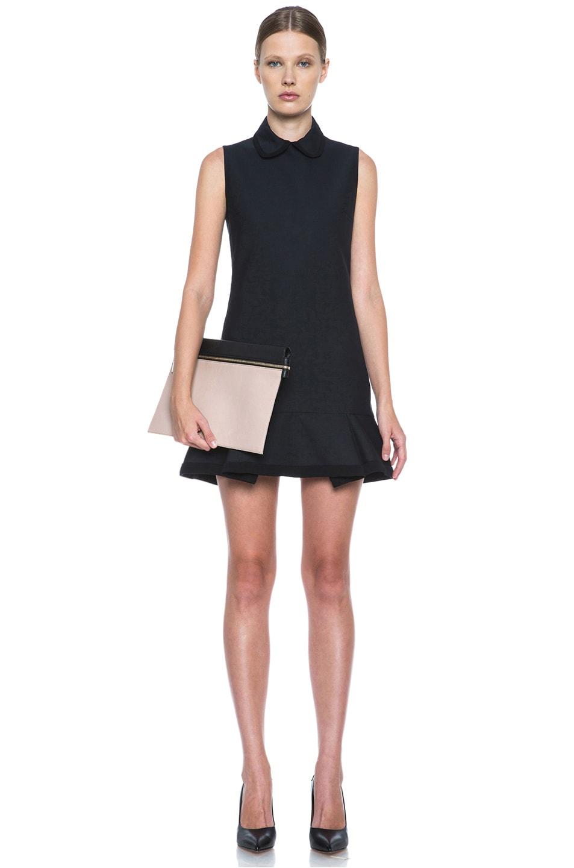 Image 5 of Victoria Victoria Beckham Scrunch Hem Poly-Blend Dress in Navy & Black