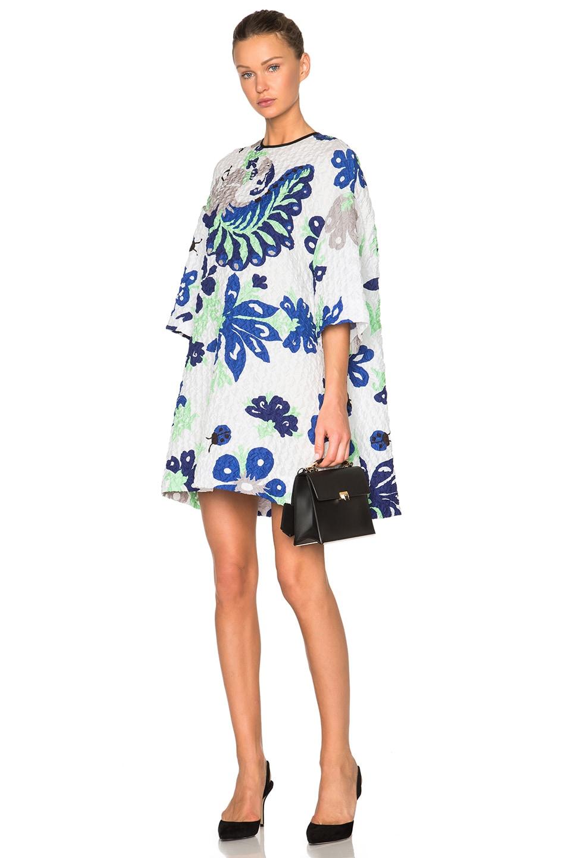 Image 1 of Victoria Victoria Beckham Printed Oversized Dress in Folk Forest Blue
