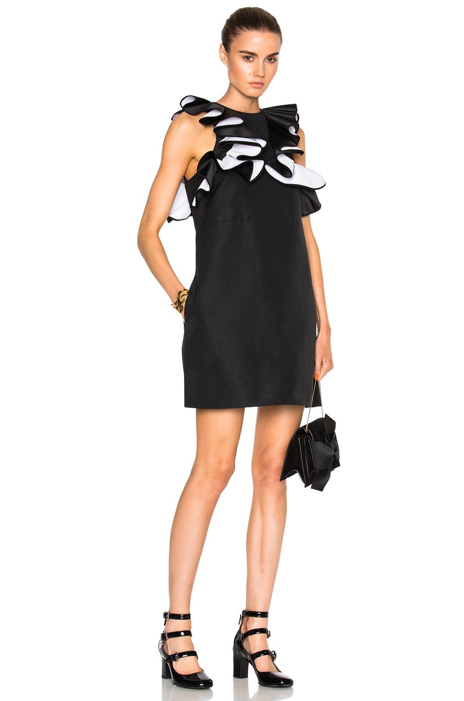 Image 1 Of Victoria Beckham Double Ruffle Shift Dress In Black Optic White